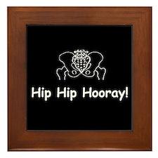 Hip Hip Hooray dark button Framed Tile