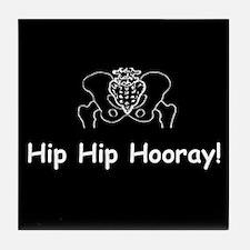 Hip Hip Hooray dark button Tile Coaster