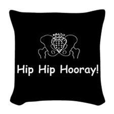 Hip Hip Hooray dark button Woven Throw Pillow