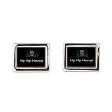 Hip Hip Hooray dark button Rectangular Cufflinks