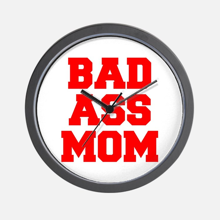 bad-ass-mom-FRESH-RED Wall Clock