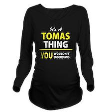 Cute Tomas Long Sleeve Maternity T-Shirt