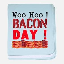 Woo Hoo Bacon Day baby blanket