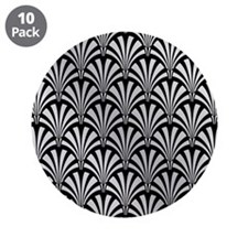 """Elegant Black and Silver Art Deco 3.5"""" Button (10"""