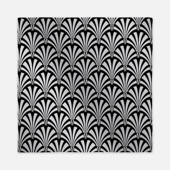 Elegant Black and Silver Art Deco Queen Duvet