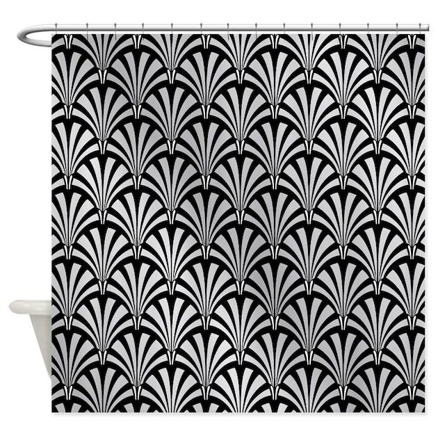 elegant black and silver art deco shower curtainclipartmegamart