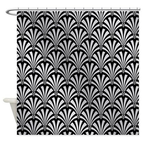Black and white geometric curtains