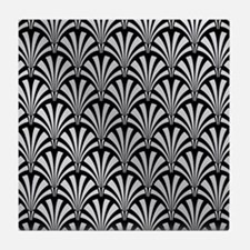 Elegant Black and Silver Art Deco Tile Coaster