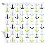 Midnight blue baby blue lime green nautical anchor Shower Curtains