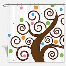 Cute Colorful Swirl Tree Shower Curtain