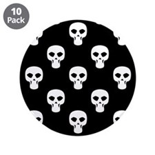 """Black and White Skulls Pattern 3.5"""" Button (10 pac"""