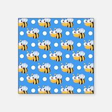 Cute Bee, Sky Blue White Polka Dots Sticker