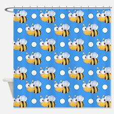 Cute Bee, Sky Blue White Polka Dots Shower Curtain
