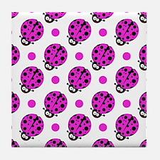 Cute Ladybug, Neon Purple White Polka Dots Tile Co
