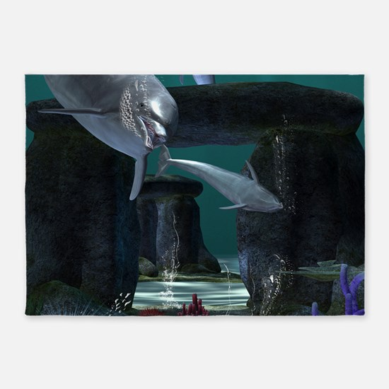 Funny dolphins 5'x7'Area Rug