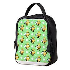 Cute Queen Bee, Light Green White Polka Dots Neopr