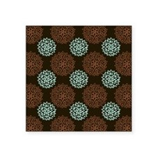 Cute Teal Green, Orange, and Brown Retro Flowers S