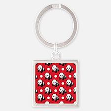Cute Panda; Red, Black White Polka Dots Keychains