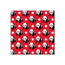 Cute Panda; Red, Black White Polka Dots Sticker