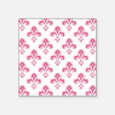 Fleur-de-lis, Coral Pink White Sticker