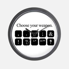 Choose Your Weapon (punctuation) Wall Clock