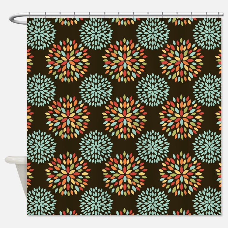 Floral Brown And Teal Shower Curtains
