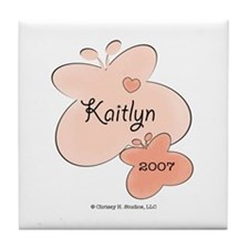 Kaitlyn Name Birth Year Butterfly Tile Coaster