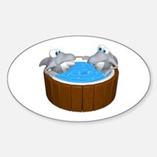 Sharks in a Hot Tub Oval Decal