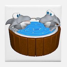 Sharks in a Hot Tub Tile Coaster