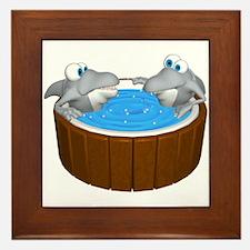 Sharks in a Hot Tub Framed Tile