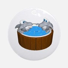 Sharks in a Hot Tub Ornament (Round)