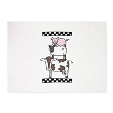Cow Cattle Sheep Pig Chicken 5'x7'Area Rug