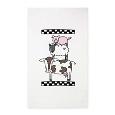 Cow Cattle Sheep Pig Chicken 3'x5' Area Rug