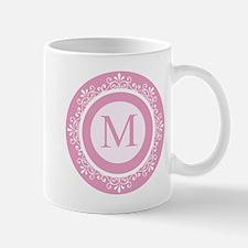 Pink | White Scrolled Frame Monogram Mug