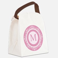 Pink | White Scrolled Frame Monog Canvas Lunch Bag