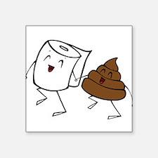 "Cute Funny poop Square Sticker 3"" x 3"""