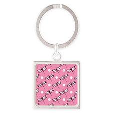 Cute Dragonfly; Light Pink White Polka Dots Keycha