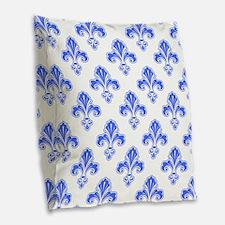 Fleur-de-lis, Royal Blue, White Burlap Throw Pillo