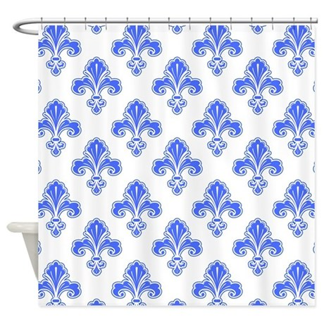 fleur de lis royal blue white shower curtain by