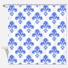 Fleur-de-lis, Royal Blue, White Shower Curtain