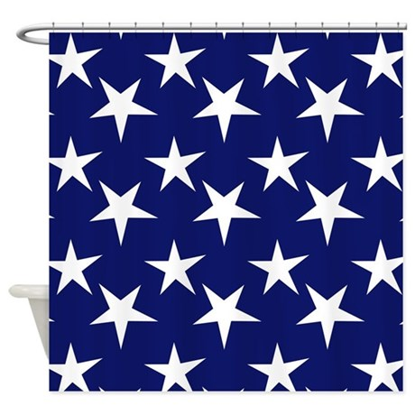 Blue Curtains blue curtains with white stars : Navy Blue and White Stars Shower Curtain by ClipArtMEGAmart