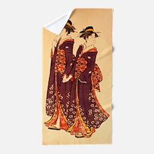 Two Geisha Of Edo Ukiyo-E Beach Towel