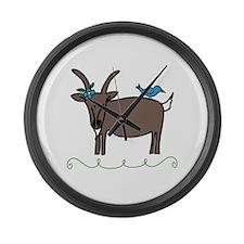 Goat Bluebird Animal Sheep Large Wall Clock