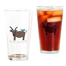 Goat Bluebird Animal Sheep Drinking Glass
