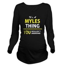 Funny Myles Long Sleeve Maternity T-Shirt