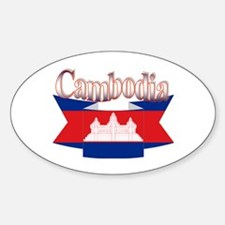 Cambodian flag ribbon Oval Decal