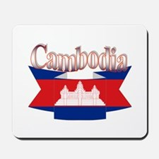 Cambodian flag ribbon Mousepad