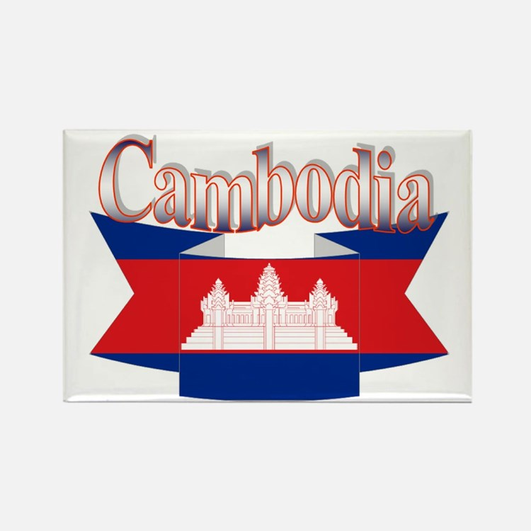 Cambodian flag ribbon Rectangle Magnet