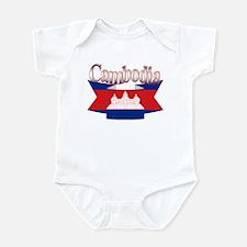 Cambodian flag ribbon Infant Bodysuit