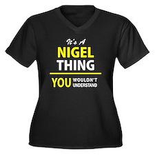 Unique Nigel Women's Plus Size V-Neck Dark T-Shirt